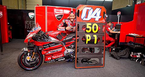 Andrea Dovizioso 在奧地利站拿下分站冠軍,進而寫下 Ducati 在MotoGP中的第50場的勝利。